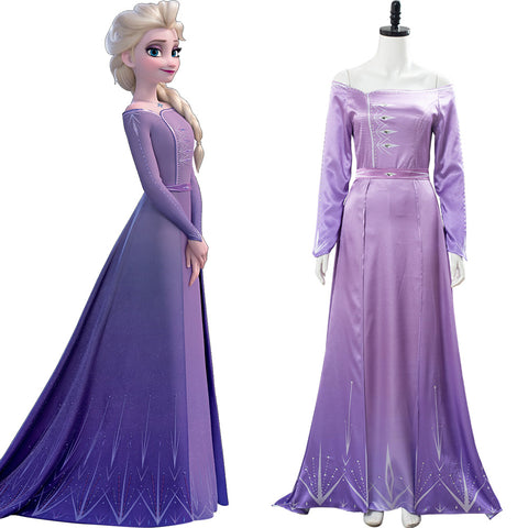 Frozen 2 Elsa Purple Pink Nightgown Gown Violet Arendelle Bedroom Dress Cosplay Costume