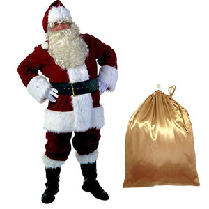 Santa Claus Cosplay Costume Christmas Outfit Luxury 10 Pieces Set Adult