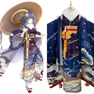 Azur Lane Ibuki Wish of a Snow Goddess Kimono New Year Cosplay Costume