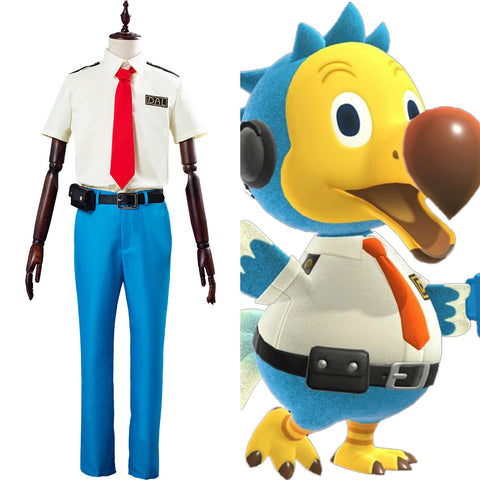 Orville/Wilbur Animal Crossing Dodo Airlines Pilot Unifrom Outfit Halloween Carnival Costume Cosply Costume for Adult