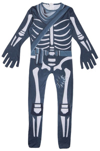 Fortnite Skull Trooper Jumpsuit Halloween Cosplay Costume for Kids Children