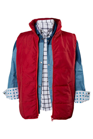 Back To The Future Marty McFly  Red Waistcoat Cosplay Costume