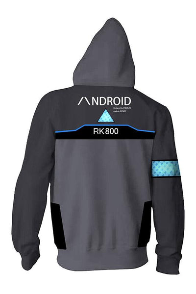Detroit: Become Human Zip Up Hoodie Connor RK800 Hoodie Unisex Sweatershirt Gray