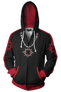 Teen Hoodie Kingdom Hearts Roxas 3D Zip Up Sweatshirt Unisex