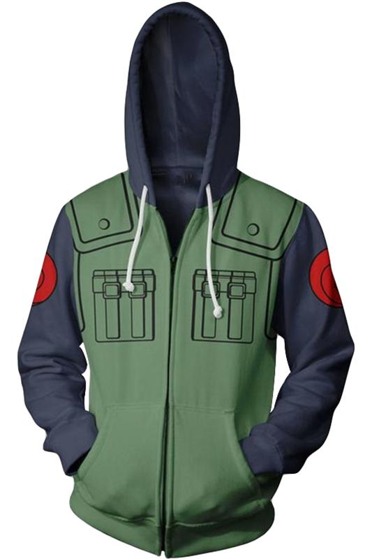 Anime Naruto Hatake Kakashi 3D Hoodie Zip-Up Sweatershirt