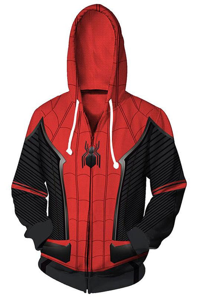 Spider-Man: Far From Home Hoodie Spiderman Peter Park 3D Zip Up Sweatshirt Unisex