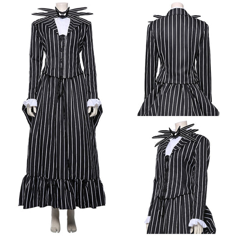 The Nightmare Before Christmas Jack Skellington Striped Uniform Cosplay Costume