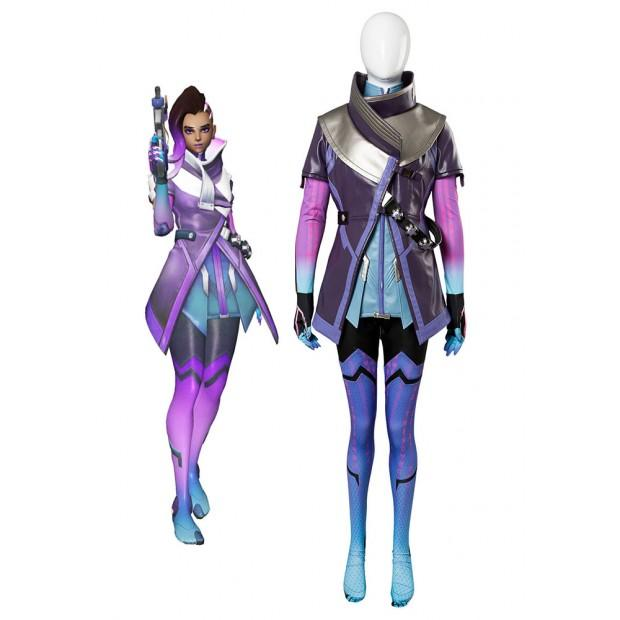 Overwatch Sombra Hacker Outfit Suit Cosplay Costume For Girls Females