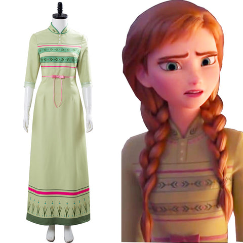 Frozen 2 Arendelle Bedroom Nightgown Gown Anna Green Dress Cosplay Costume