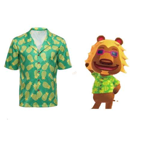 Bud Adult T Shirt Game Animal Crossing Cosplay Hawaiian Short Sleeve Shirts Costume Halloween Carnival Costume