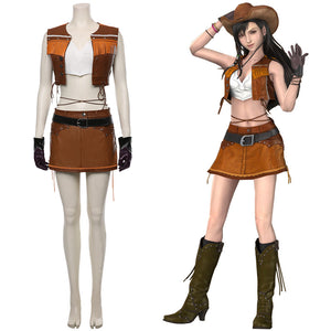 Tifa Lockhart Final Fantasy VII Remake Cosplay Costume The Cowboy Suit Halloween Carnival Costume