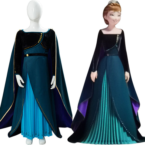 Princess Anna Coronation Queen Frozen II 2 Cape For Kids Cosplay Costume
