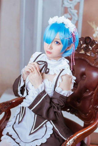 Re:Zero Life in a Different World from Zero Rem Costume+Shoes+ Wigs