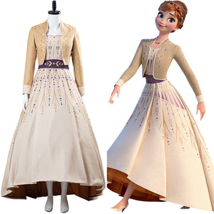 Anna Frozen 2 Princess Gown Picnic Dress Cosplay Costume