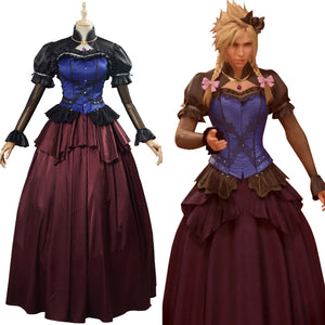 Cloud Strife Women Dress Outfit Final Fantasy VII Remake Game Cosplay Costume
