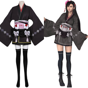 Tifa Lockhart Women Kimono Dress Outfit Final Fantasy VII Remake Cosplay Costume Halloween Carnival Costume