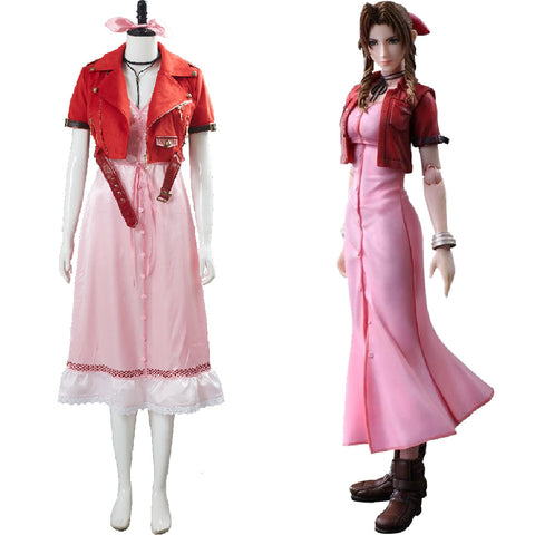 Aerith Aeris Gainsborough Final Fantasy VII 7 Cosplay Costume Pink Dress Outfit