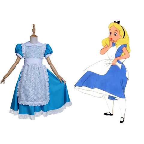 Alice in Wonderland Kids Girls Dress Apron Outfit Cosplay Costume Halloween Carnival Suit