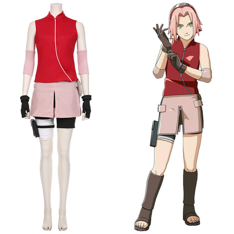 Haruno Sakura Women Girls Skirt Outfit NARUTO Cosplay Costume Halloween Carnival Costume