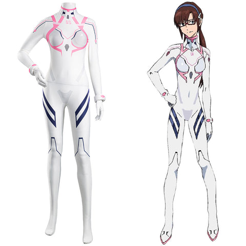 Makinami Mari Illustrious White Jumpsuit Battle Outfits Halloween Carnival Suit Evangelion 4.0 Final EVA Cosplay Costume