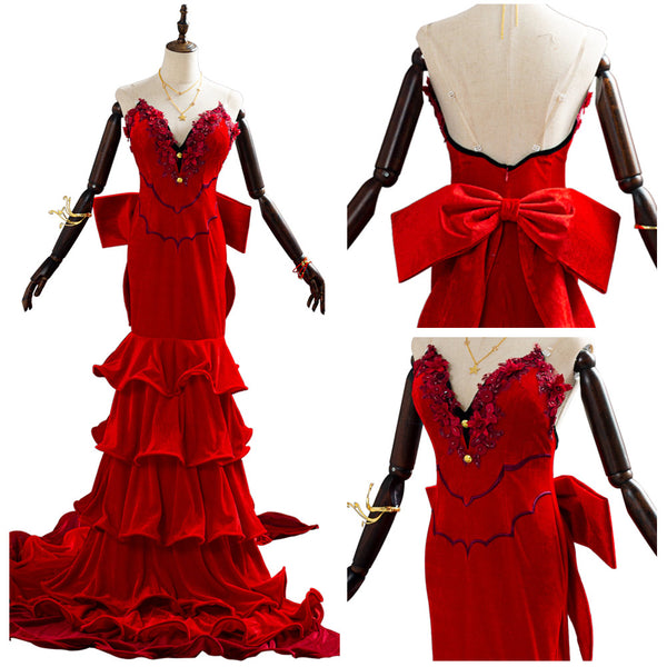 Final Fantasy VII Remake Red Party Dress Aerith Aeris Gainsborough Halloween Cosplay Costume