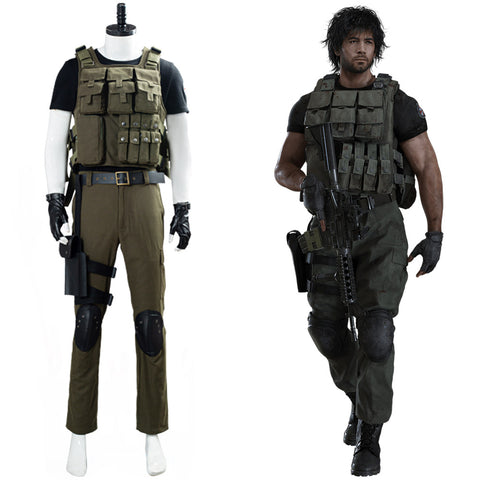 Carlos Oliveira RESIDENT EVIL 3 REMAKE Cosplay Costume Men Uniform Outfit Halloween Carnival Costume