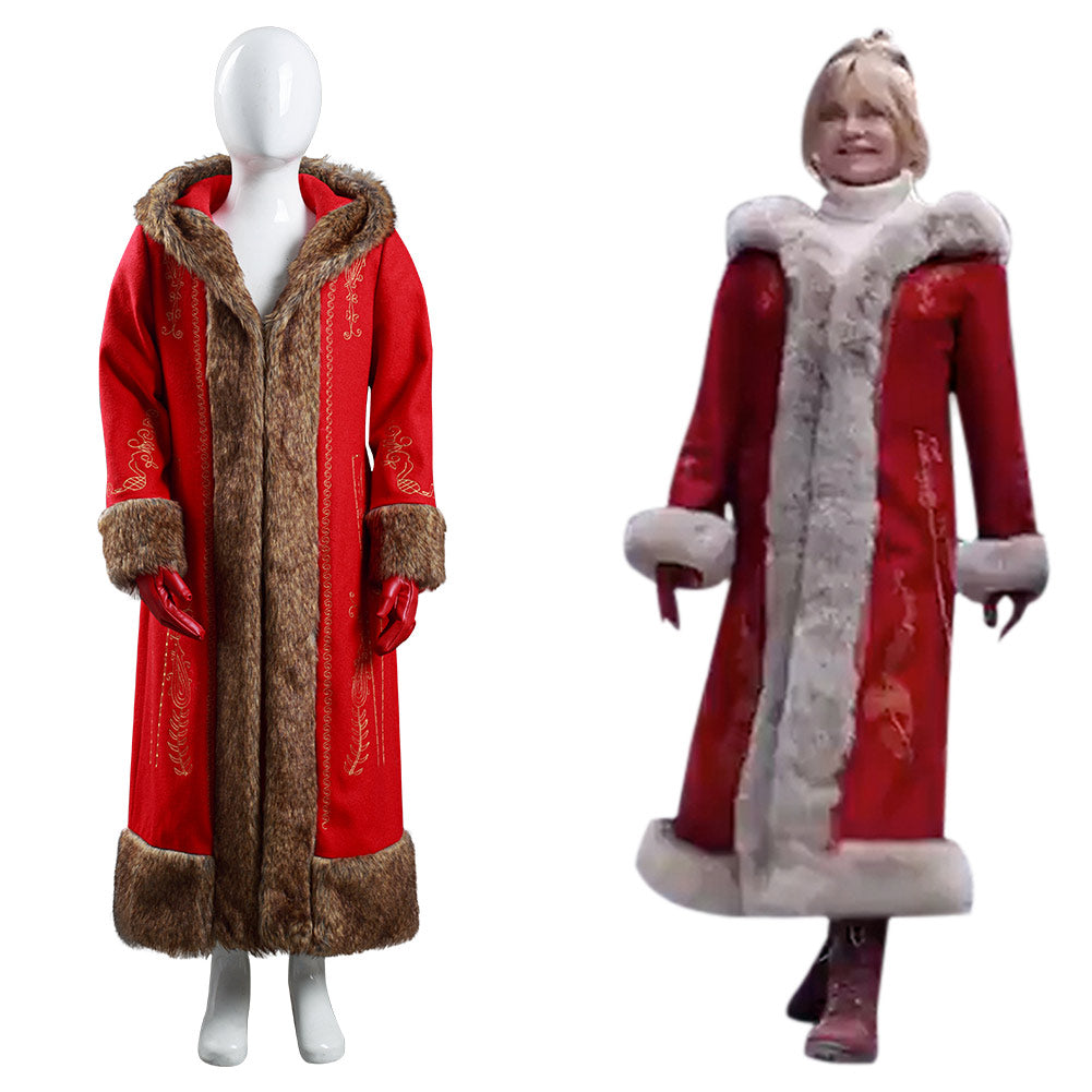 Mrs. Claus Kids Children Coat Gloves Outfits Halloween Carnival Suit The Christmas Chronicles 2 Cosplay Costume