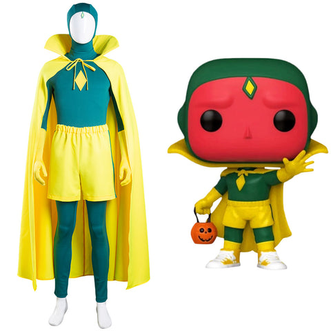 Vision Jumpsuit Cloak Outfits Halloween Carnival Suit Wanda Vision Cosplay Costume