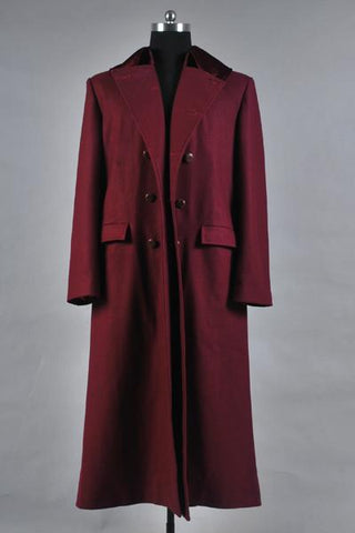 Doctor Who 4th Doctor Plum Red Long Trench Wool Coat Costume