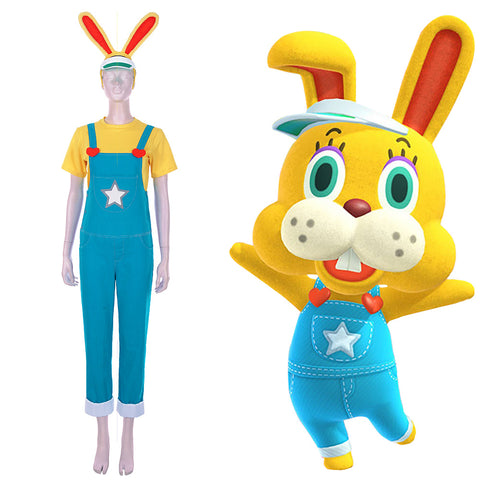 Zipper T. Bunny Men T-shirt Overalls Outfits Halloween Carnival Costume Animal Crossing: New Horizons Cosplay Costume