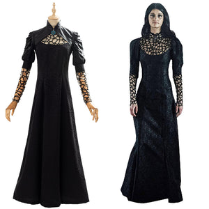 The Witcher Yennefer Black Party Long Dress Cosplay Costume Outfit