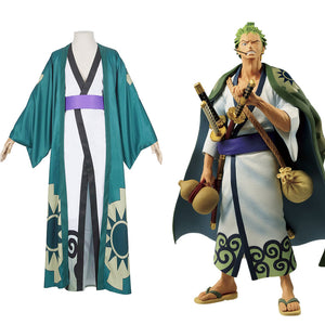 Roronoa Zoro One Piece Kimono Robe Full Suit Outfit Cosplay Costume Halloween Carnival Costume