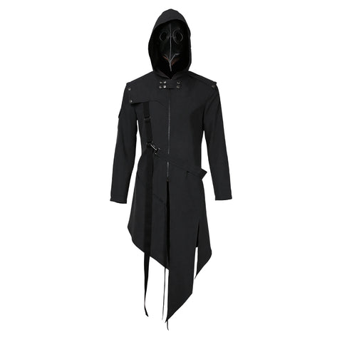 Plague Doctor Cosplay Costume Men Steampunk Gothic Hooded Jacket Coat Halloween Carnival Suit