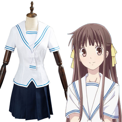 Honda Tohru Women Girls Top Skirt Outfit FRUITS BASKET 2 Cosplay Costume Halloween Carnival Costume