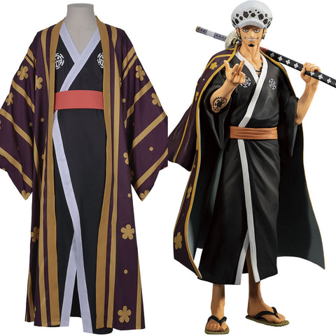 Trafalgar Law/Trafalgar D Water Law One Piece Kimono Robe Full Suit Outfit Cosplay Costume Halloween Carnival Costume