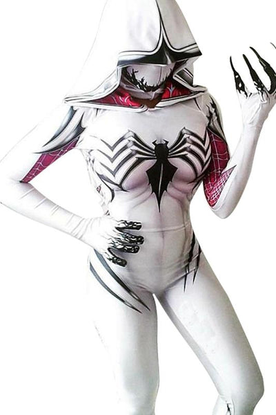 Spider-Gwen Gwen Stacy Body Suit Jumpsuit Cosplay Female Halloween Outfit White