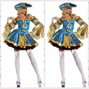 Halloween Sexy Blue Gold Pirate Luxury Adult Cosplay Costume