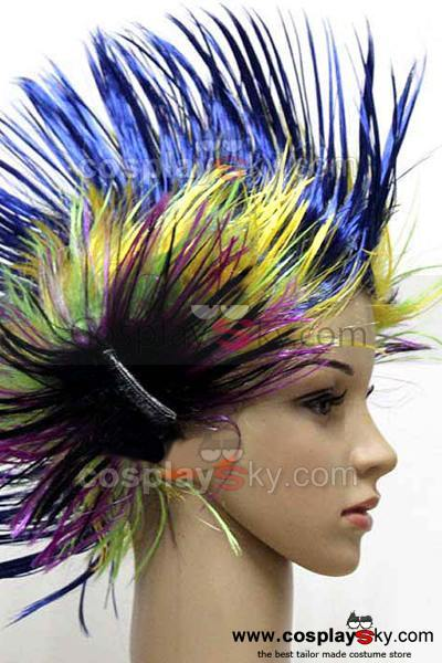 Multicoloured Cockscomb Halloween Wig
