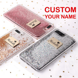 Custom Personalized Name Glitter Rose Gold Metal Plate Laser Phone Case