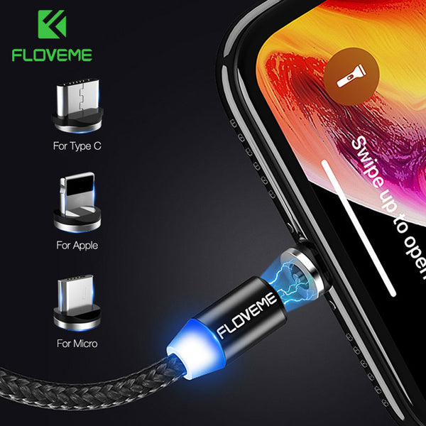 USB Cable For iPhone XR XS Max X Magnet Charger USB Type C Cable LED Charging Wire Cord