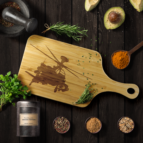 Image of Premium Bamboo Cutting Board | AH-64 Silhouette