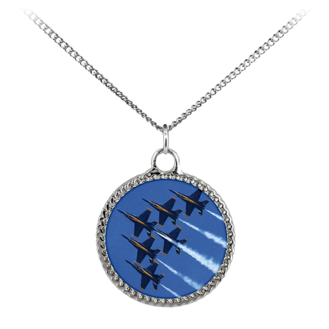 Image of Blue Angels Deco Coin Necklace