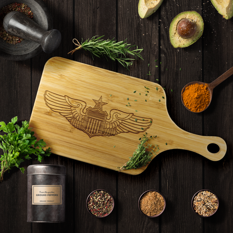 Image of Premium Bamboo Cutting Board | USAF Senior Pilot Wings Silhouette