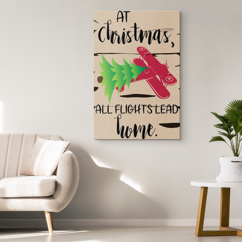 Image of At Christmas, All Flights Lead Home - Fireplace Mantel / Wall Canvas