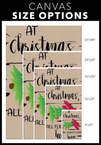 At Christmas, All Flights Lead Home - Fireplace Mantel / Wall Canvas