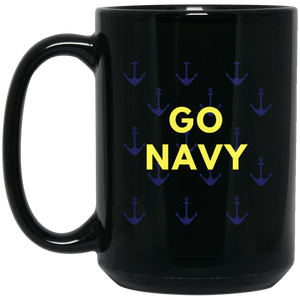 "Coffee Mug - ""Go Navy"" 15 oz. Black Mug"