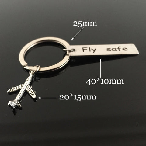"Key Chain | Engrave ""Fly Safe"" Airplane Pendant"