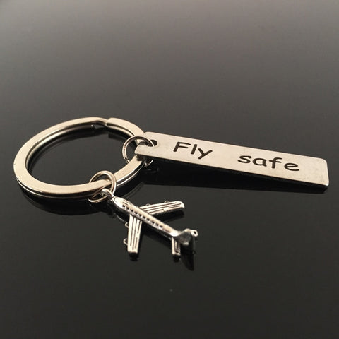 "Image of Key Chain | Engrave ""Fly Safe"" Airplane Pendant"