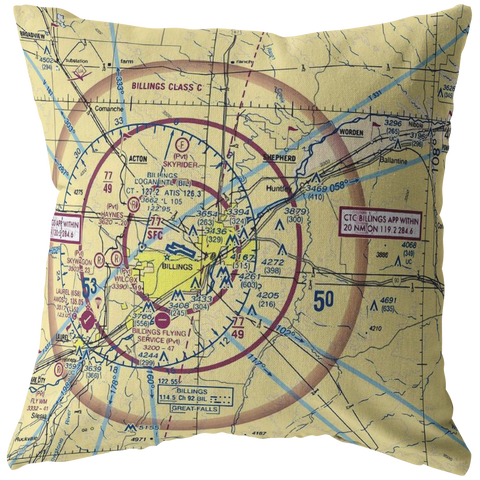 Throw Pillow |  Billings, Montana VFR Sectional