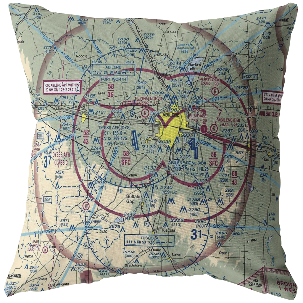 Throw Pillow | Abilene, Texas VFR Sectional